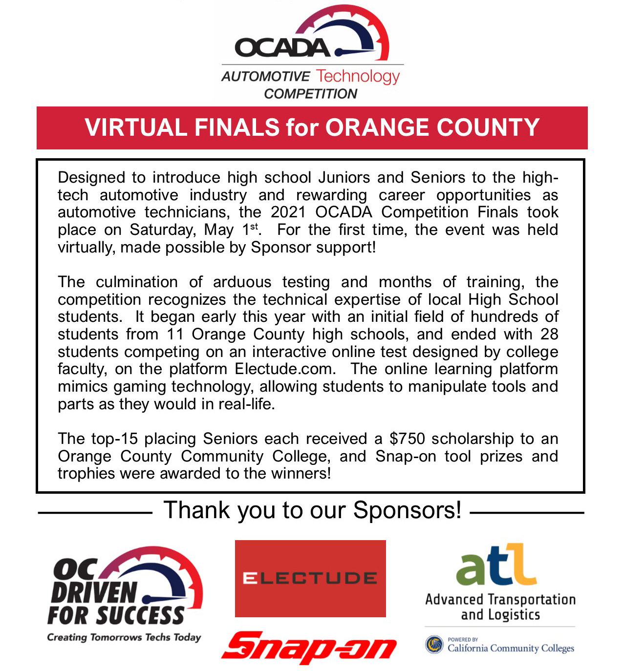 OCADA 28th Annual Automotive Technology Competition